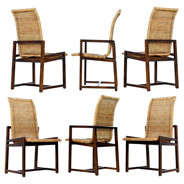 High Back Woven Rattan Dining Chairs by Century Furniture