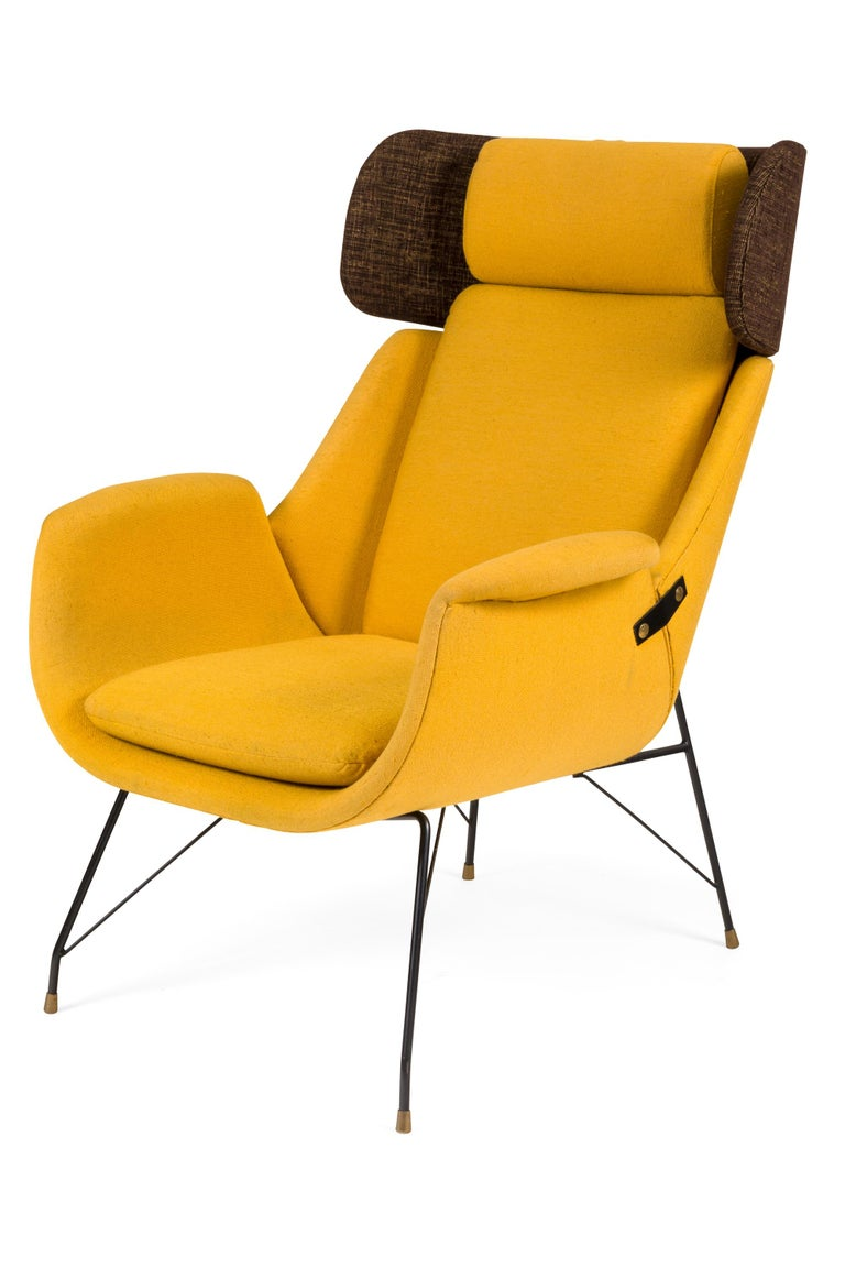 Mid-Century Modern High Back Yellow Lounge Chairs by Augusto Bozzi for Saporiti, Italy, 1950s For Sale
