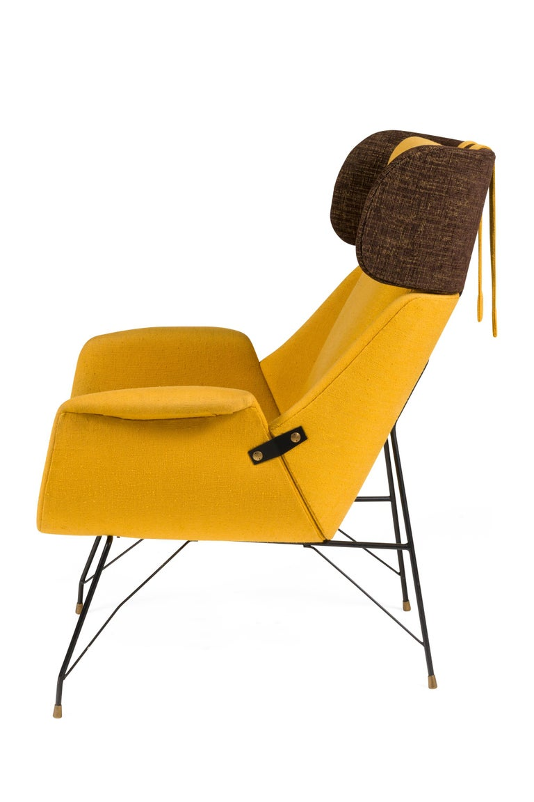 Italian High Back Yellow Lounge Chairs by Augusto Bozzi for Saporiti, Italy, 1950s For Sale