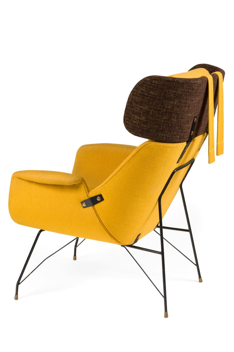 Painted High Back Yellow Lounge Chairs by Augusto Bozzi for Saporiti, Italy, 1950s For Sale