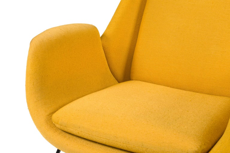 Mid-20th Century High Back Yellow Lounge Chairs by Augusto Bozzi for Saporiti, Italy, 1950s For Sale