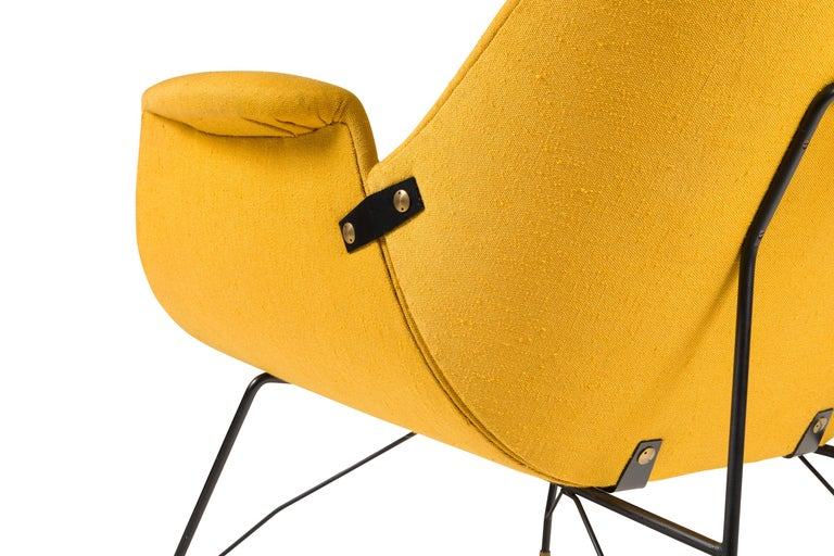 Fabric High Back Yellow Lounge Chairs by Augusto Bozzi for Saporiti, Italy, 1950s For Sale