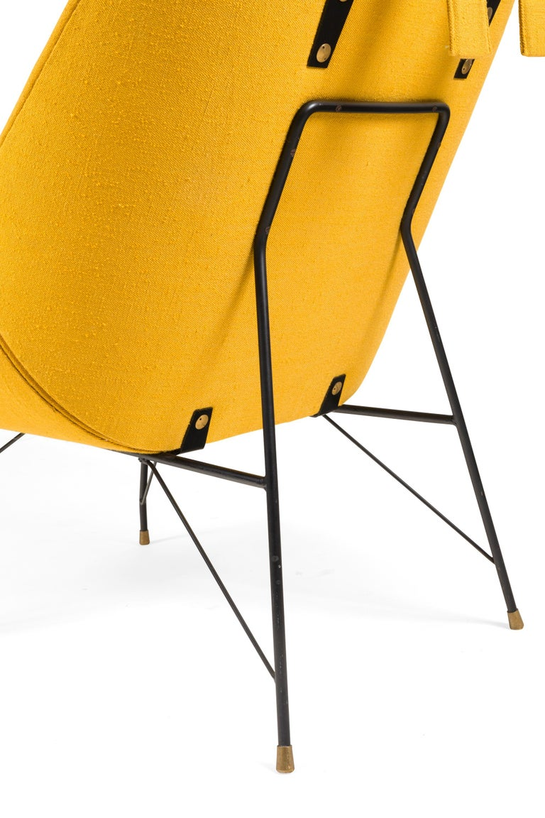 High Back Yellow Lounge Chairs by Augusto Bozzi for Saporiti, Italy, 1950s For Sale 1