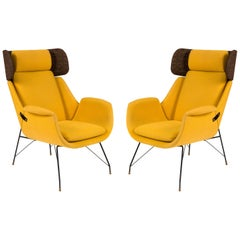 High Back Yellow Lounge Chairs by Augusto Bozzi for Saporiti, Italy 1950s