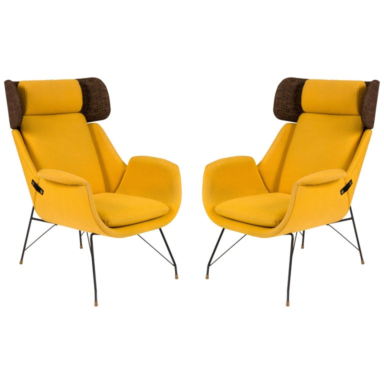High Back Yellow Lounge Chairs by Augusto Bozzi for Saporiti, Italy, 1950s For Sale