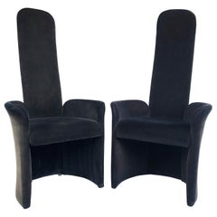 High-Backed Armchairs with Mohair Upholstery, Pair