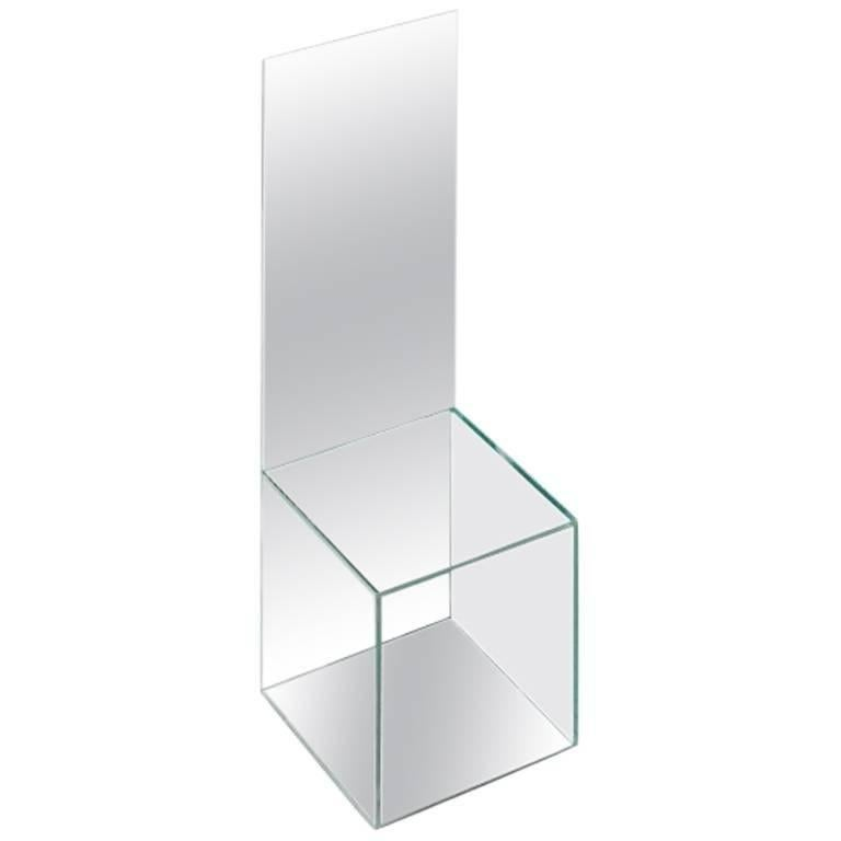 High Backed Glass Mirrored Chair by Guillermo Santomá Barcelona Contemporary In Good Condition For Sale In Barcelona, ES