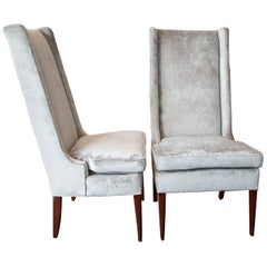 High Backed Hostess Chairs in Grey Velvet