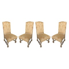 High-Backed Italian Carved Side Chairs with Fortuny Style Fabric, Set of 4