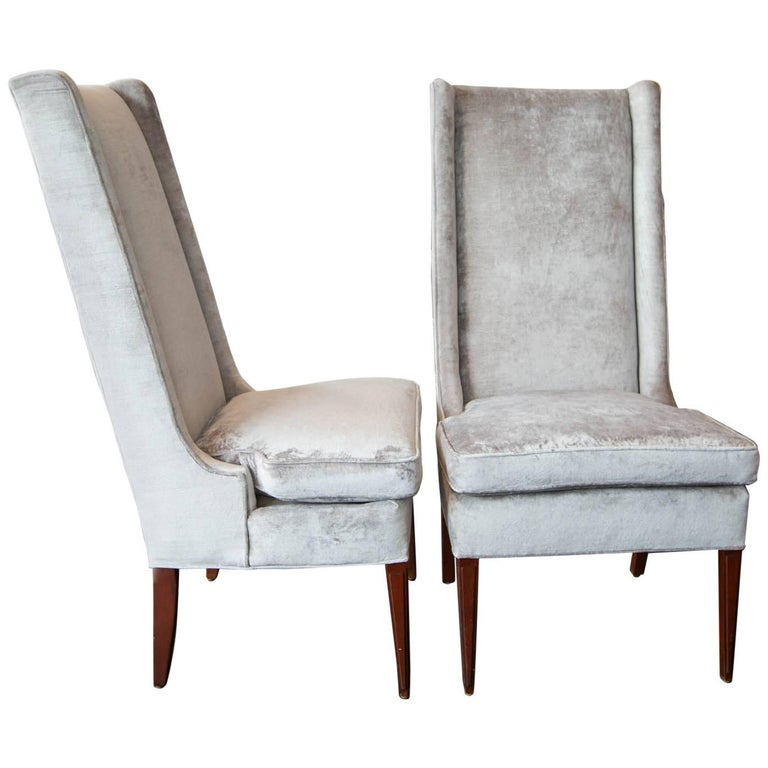 high backed wing chairs in grey velvet for sale at 1stdibs. Black Bedroom Furniture Sets. Home Design Ideas