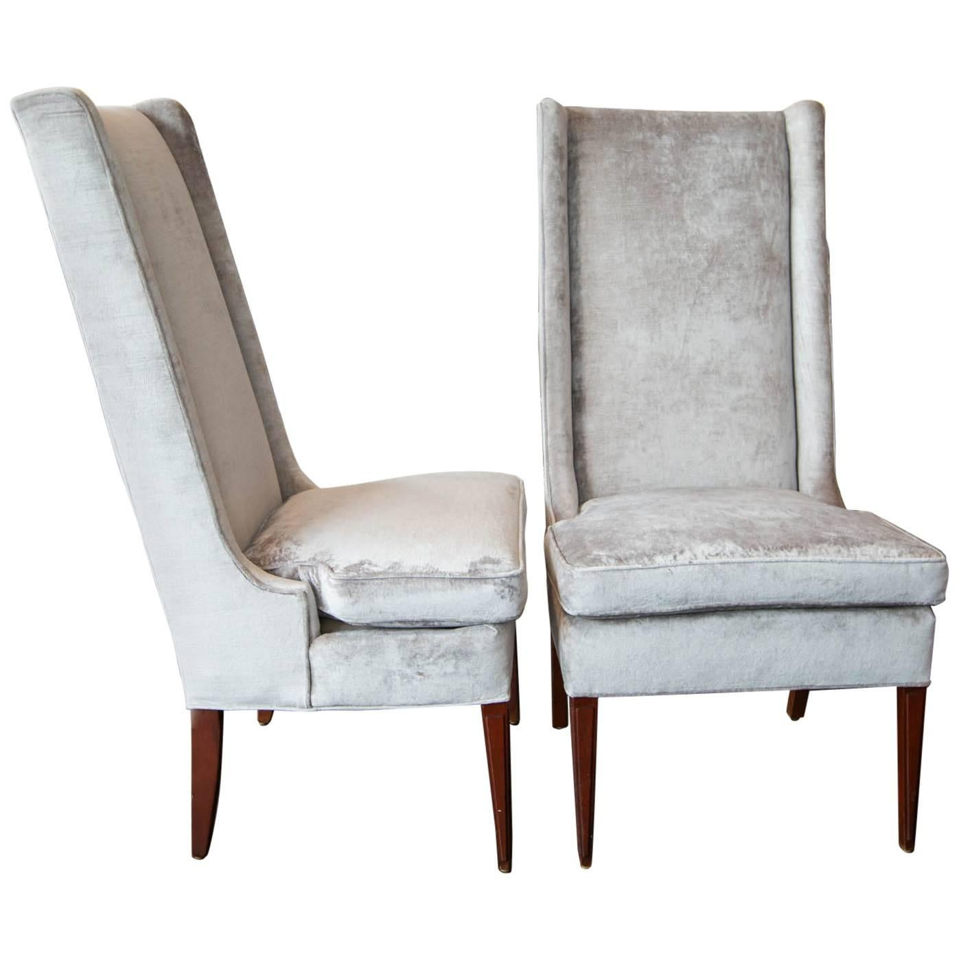High Backed Wing Chairs In Grey Velvet
