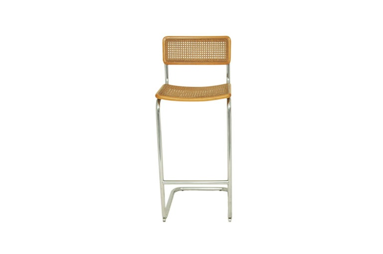 Hungarian High Bar Stool, Model Cesca by Marcel Breuer, Italy 1970, Edition Cidue, Brown