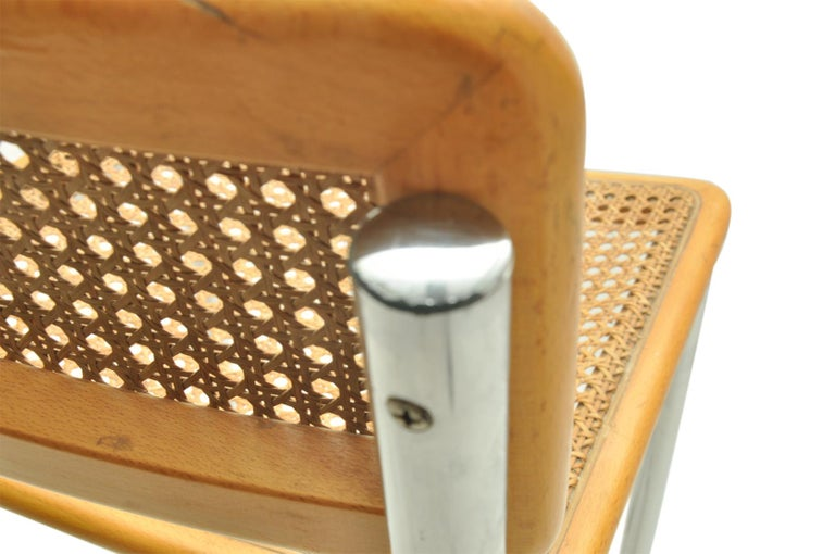 Mid-20th Century High Bar Stool, Model Cesca by Marcel Breuer, Italy 1970, Edition Cidue, Brown