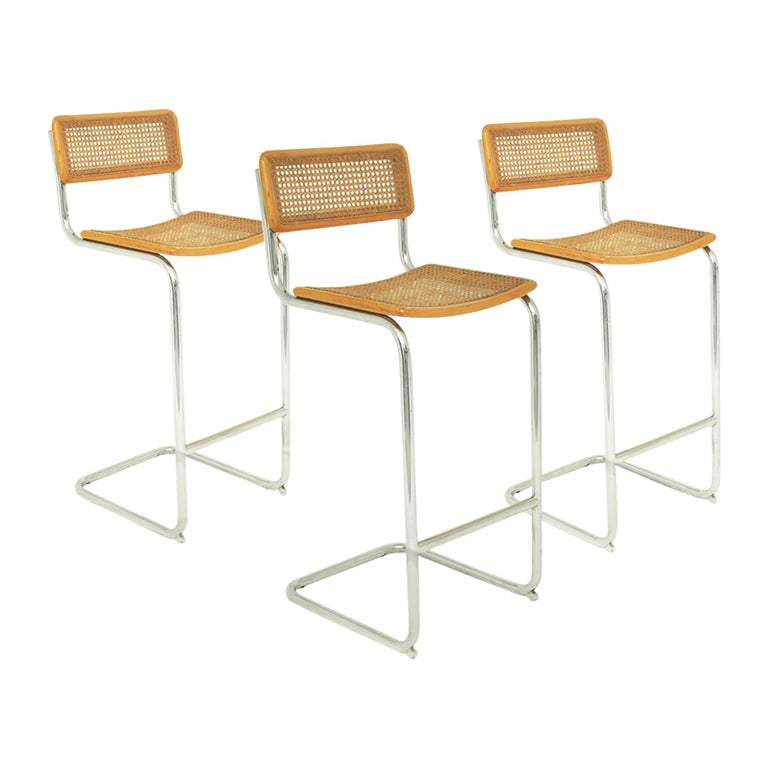 High Bar Stool, Model Cesca by Marcel Breuer, Italy 1970, Edition Cidue, Brown
