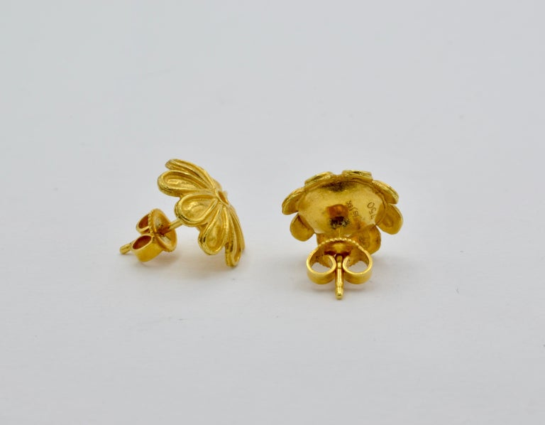 Women's High Carat Yellow Gold Flower Post Earrings, a Museum Reproduction For Sale