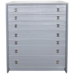 "High Chest in Silver Cerused Oak with Nickel ""X"" Fittings by Paul Frankl"