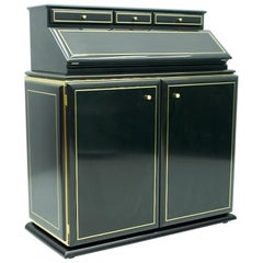 High Class Secretary, Writing Desk in Black Lacquer and Brass, 1970s