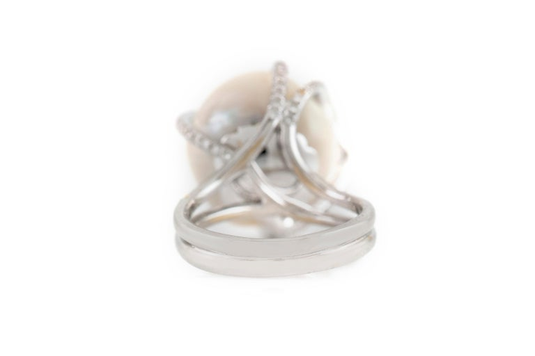 Women's High Diamonds Setting with Center Pearl For Sale