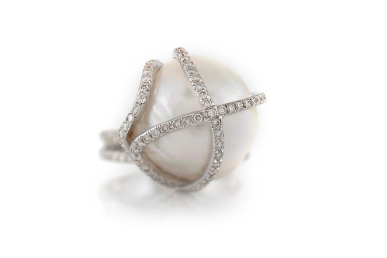 High Diamonds Setting with Center Pearl For Sale 2