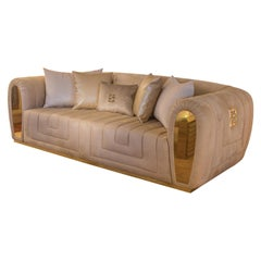 High End Contemporary Italian Designer Quilted Suede Fabric Sofa, Collier