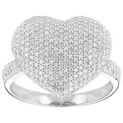 High End Diamond Heart Platinum 950 Ring