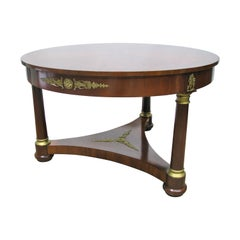 High-End French Empire Style Mahogany Center Table, Neoclassic Mounts