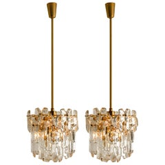 High-End J.T. Kalmar 'Palazzo' Wall Light Fixture, Gilt Brass and Glass, 1970s