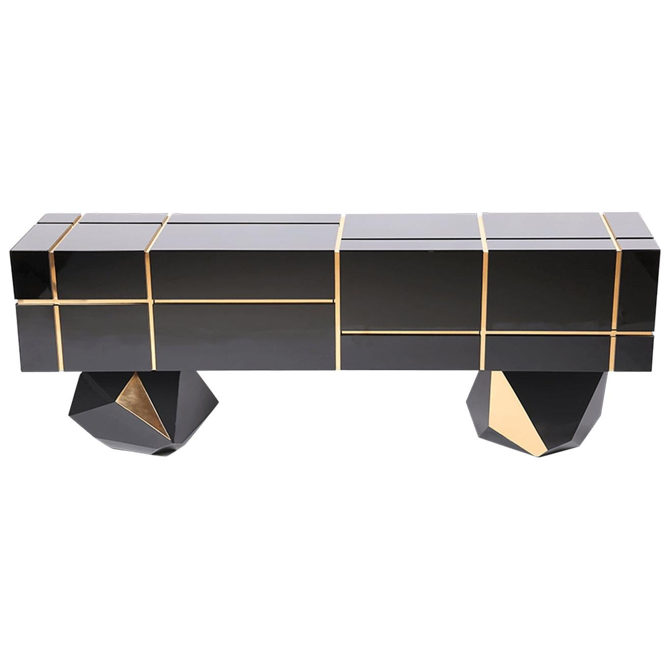 High Gloss Black Credenza with Drawers and Large Storage