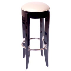 High Gloss Black Piano Lacquer Barstool in the Style of French Art Deco