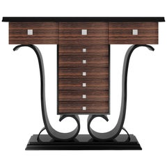 High Gloss Design Console Table with Macassar Wood and Piano Lacquer