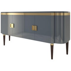 High Gloss Design Sideboard with a Grey Paintjob and Brass Details