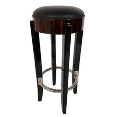 High Gloss Macassar and Black Lacquer Barstool in the Style of French Art Deco