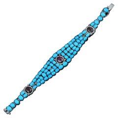 High Grade Diamond Turquoise Bracelet with Tourmalines