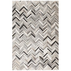 Herringbone gray, white and black, Luxurious El Cielo Cowhide Area Floor Rug