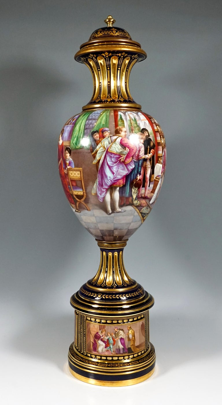 Romantic High KPM Berlin Lidded Porcelain Vase with Colourfully Painted Scenery ca 1918 For Sale
