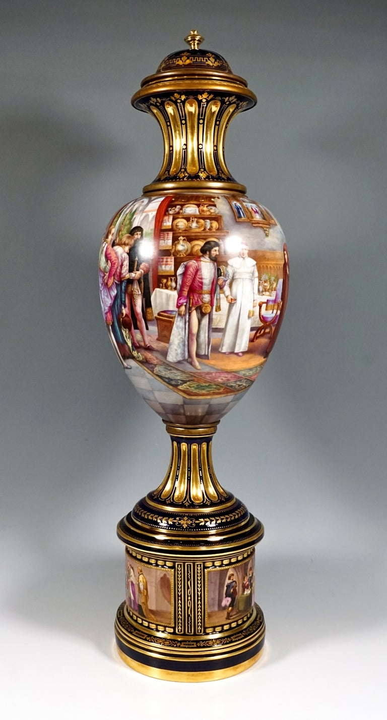 German High KPM Berlin Lidded Porcelain Vase with Colourfully Painted Scenery ca 1918 For Sale