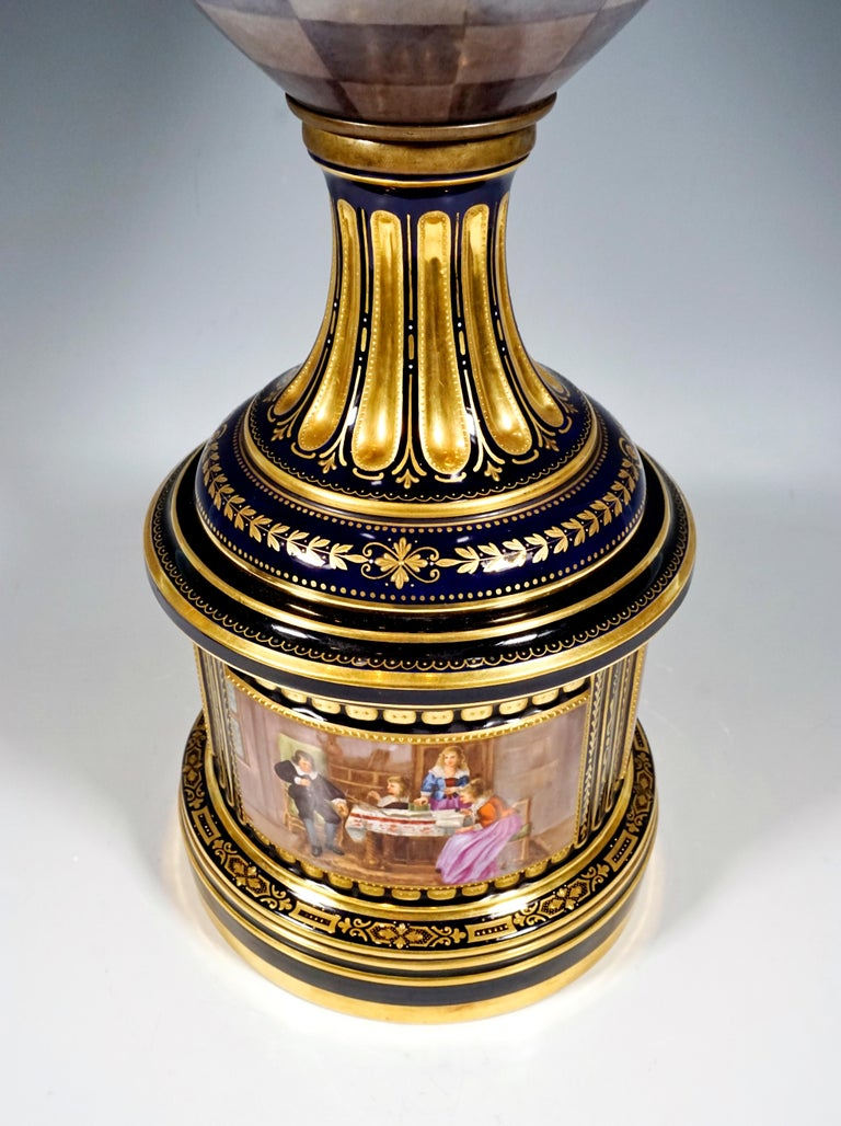 Hand-Painted High KPM Berlin Lidded Porcelain Vase with Colourfully Painted Scenery ca 1918 For Sale