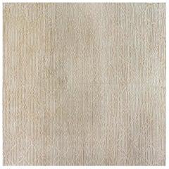 High Low Modern Beige Handmade Wool Rug