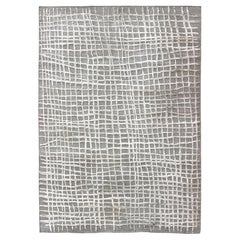 High-Low Texture Modern Large Rug with Gray/Green in the Flat weave & White Pile
