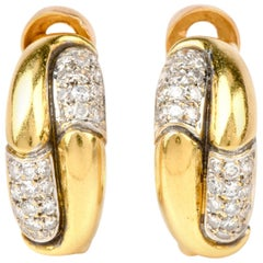 High Polished 18 Karat Gold Diamond Half Hoop Clip-On Earrings
