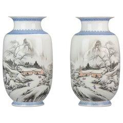 High Quality 1950-1960 Qianlong Marked Chinese Porcelain Vase PRoC Winter Land