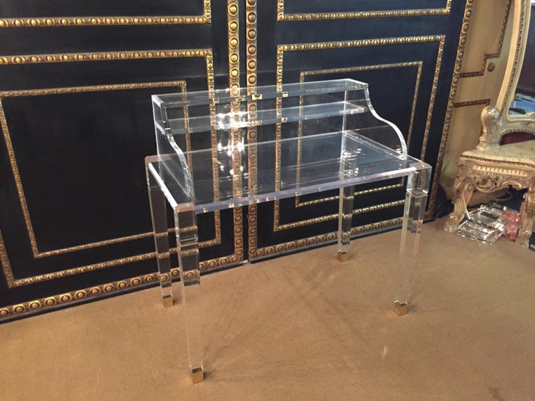 Modern High Quality Acrylic Desk Stands on 4 High Legs For Sale