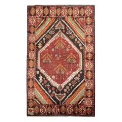 High-Quality Antique Caucasian Azerbaijan Handmade Orange Wool Living Room Rug
