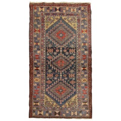 High-Quality Antique Caucasian Living Room Rug Multicolored Tribal Carpet Rug