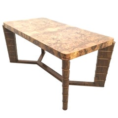 High-Quality Art Deco Rectangular Walnut and Root Dining Table, Italy