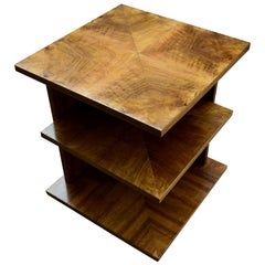 High Quality Art Deco Walnut Three-Tier Book Table