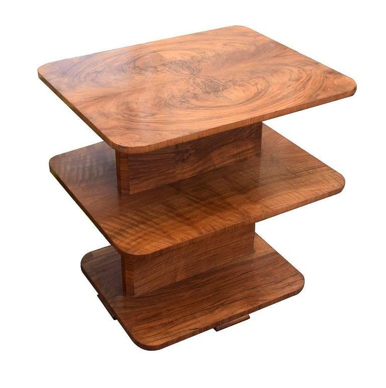 High Quality Art Deco Walnut Three-Tier Book Table