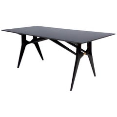 High-Quality Black Ebonized Mahogany Dining Table, Italy, 1950s