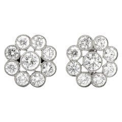 High Quality Cluster Diamond Floral Motif Platinum Stud Earrings