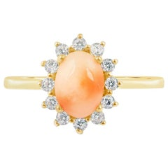 High Quality Diamond and Pink Coral Ring in 14 Karat Gold